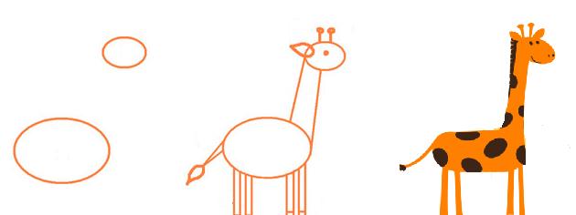 Нарисованный жираф карандашом поэтапно для детей