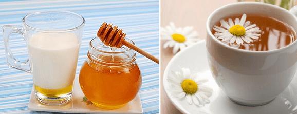 Молоко с медом и чай с ромашкой