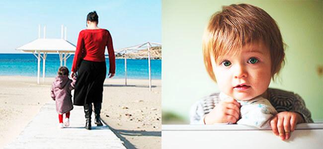 Прогулка на море с ребенком, ребенок в кроватке